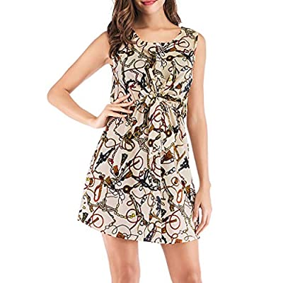 Clothful Woman Tops, Women Summer Casual Dress Sleeveless Printing Party Evening Mini Dress
