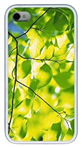 case good green foliage branches TPU White Case for iphone 4/4S