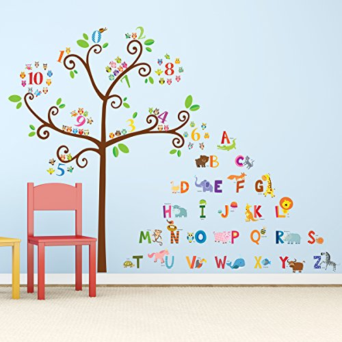 Decowall Da 1503 Animal Alphabet Abc And Owl Numbers Tree Kids Wall Decals Wall Stickers Peel