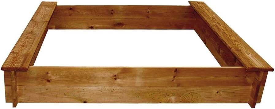 120 x 120 x 20 cm Wakects para ni/ños de 3 a/ños + para ni/ños para jard/ín con banco Arenero para ni/ños con FSC de pino cuadrada cuadrado