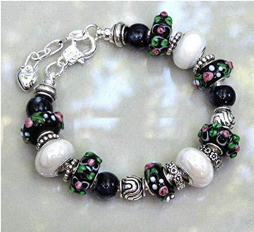 - White Black Rose Flower Glass Lampwork Bracelet