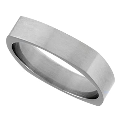 Surgical Stainless Steel 6mm Square Wedding Band Ring Matte Finish Comfort Fit Size 10