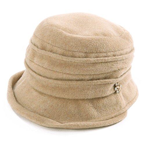 SIGGI Cloche Hat for Women Wool Felt Winter Hat Ladies 1920s Vintage Derby Church Bowler Bucket Hat Warm Foldable Beige - Felt Bucket