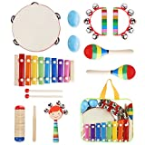 YISSVIC Kids Musical Instruments Set 11 Pcs Toddler Percussion Toy for Boys and Girls with Carry Bag
