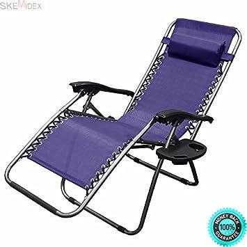 Amazon.com : SKEMiDEX 1 Pair blue Zero Gravity Lounge Chairs ... on chaise sofa sleeper, chaise recliner chair, chaise furniture,