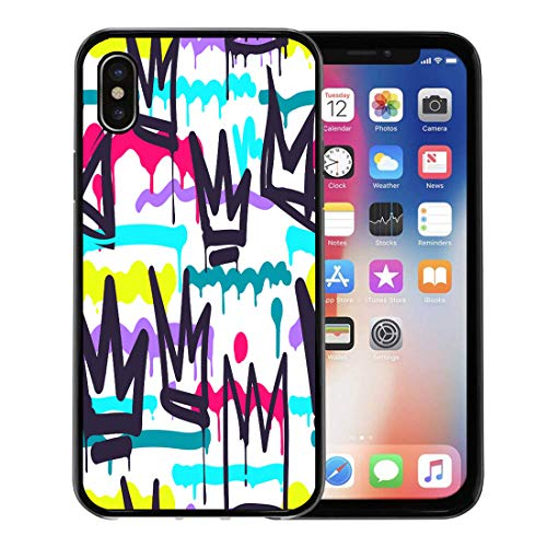 Semtomn Phone Case for Apple iPhone Xs case,Green Pattern Tags Black and White Graffiti in Hip Hop Street Skateboard Crown for iPhone X Case,Rubber Border Protective Case,Black
