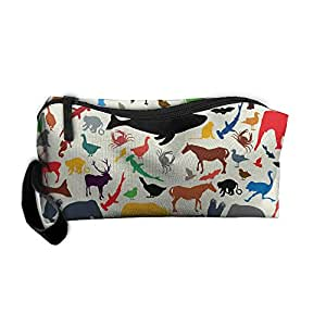 Travel Makeup Shark Zoo Pattern Cosmetic Case Organizer Portable Artist Storage Bag Toiletry Jewelry Pen Holder Stationery Pencil Pouch