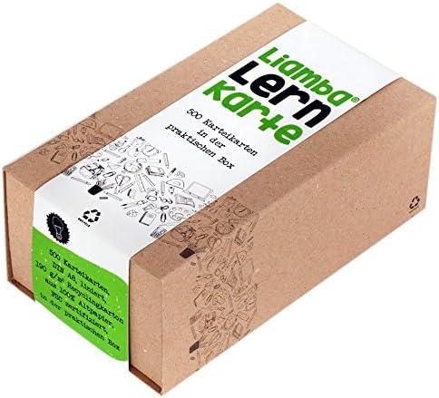 [Gesponsert]Liamba Lernkarte | 500 Karteikarten in der praktischen Lernbox | DIN A8 Format | 7,4 x 5,2 cm | 190g | liniert | FSC | Karteikasten aus Recyclingkarton | in Deutschland hergestellt