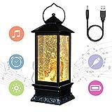 Eldnacele Christian Snow Globe Lantern Lamp Lighted