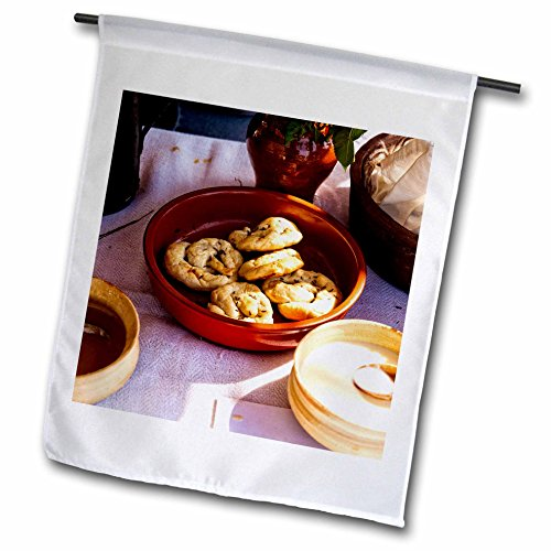 Plate Garden Snack (3dRose Alexis Photography - Food - Medieval cookies or buns in an earthenware plate - 12 x 18 inch Garden Flag (fl_273328_1))