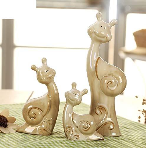 ZAMTAC Lovely Ceramics Escargots Miniatures Decorative Porcelain Snail Family Figurine Adornment Trinket Craftworks Present Accessories - (Color: Multi-Colored, Size: M)