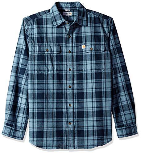 Carhartt Men's Hubbard Plaid Flannel Shirt, Steel Blue, Medium