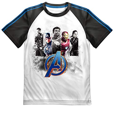Justice League Avengers 5 Superheros Graphic Boys Raglan T-Shirt - -