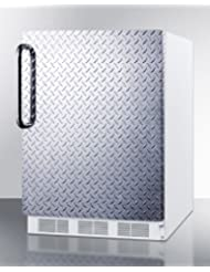 Summit FF61DPL Refrigerator, Silver With Diamond Plate