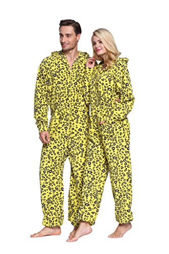 XMASCOMING Women's & Men's Hooded Fleece Onesie Pajamas Leopard Size US M (Leopard Women Onesie)
