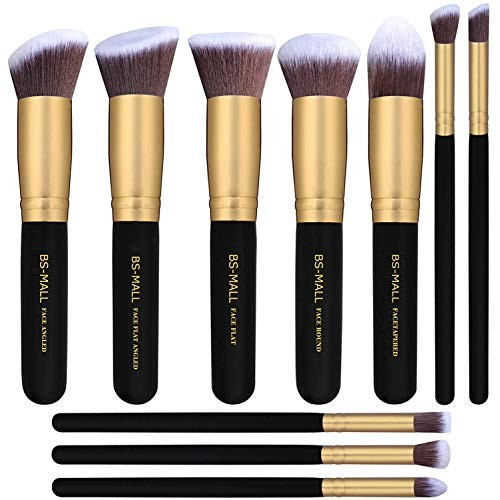 BS-MALL(TM) Makeup Brushes Premium Makeup Brush Set Synthetic Kabuki Cosmetics Foundation Blending Blush Eyeliner Face Powder Brush Makeup Brush Kit (10pcs, Golden Black) (Best Mac Brush For Powder Foundation)