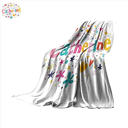 Catherine Outdoor Blanket Colorful Alphabet Design Ornate Lettering Nursery Themed Arrangement Dots Pattern Baby Blanket 60 x 36 -