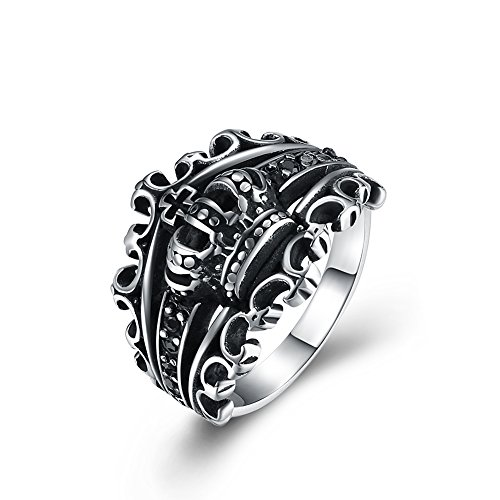 Stainless Steel Crown Ring with Hollowed-out Design by Herinos Size 11 Crown Ring Design