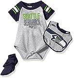 NFL Infant Blitz Onesie, Bib and Bootie Set-Heather Grey-18 Months, Seattle Seahawks