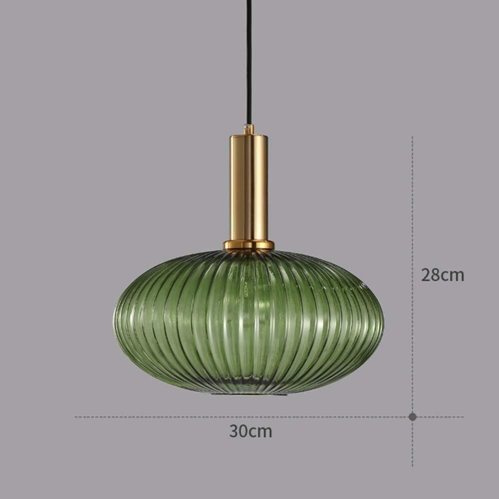 Color : Amber Yxsd Industriel Vintage Grand Pendentif /Éclairage Moderne Style R/étro Plafond Goutte Suspension Lampe Vert Abat-Jour en Verre avec Douille en Laiton Poli