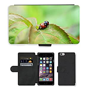 Hot Style Cell Phone Card Slot PU Leather Wallet Case // M00116816 Harlequin Copulation Mating Ladybird // Apple iPhone 6 4.7""