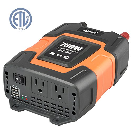 Ampeak 750W Power Inverter 12V DC to 110V AC Converter with Dual 3.1A USB Dual AC Outlets Car Inverter