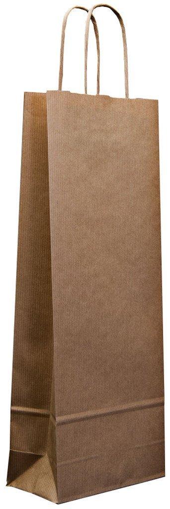 25x Twist handle White or Brown Kraft paper Wine Bags (White) Taffarello
