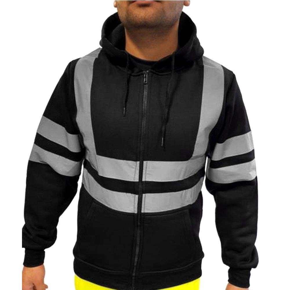 Mens High Visibility Safety Jacket Pullover Hoodie Full Zipper Hooded Sweatshirt with Reflective Detail Long Sleeve Coat