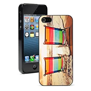 For iPhone 4 4S Hard Case Cover Beach Chairs Sunset -01