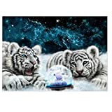 TiTCool 5D Diamond Painting Kit, White Tiger 30X40CM Drill Rhinestone Pasted Craft DIY Home Decorative (C)