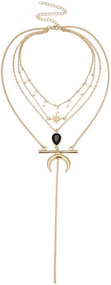 Collar Vintage para Mujer, Collar Multicapa, Colgante de Piedra Preciosa, Cadena Larga con Colgante pompón
