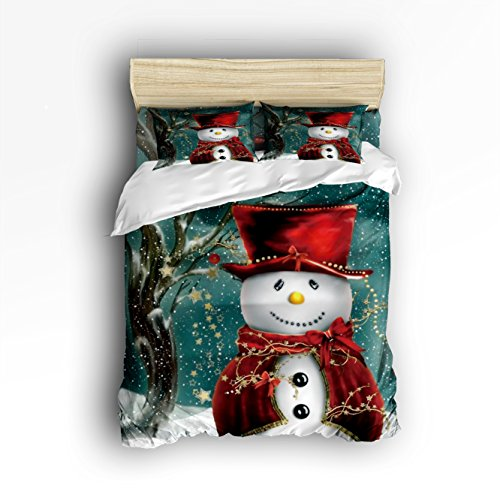 Family Decor Snowman Winter Christmas Digital Print Home Comforter Bedding Sets Duvet Cover Sets Bedspread for Adult Kids,Flat Sheet, Shams Set 4Pieces,4 Pcs Queen Size for Kids Teenage Teens by Family Decor