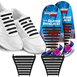 #6: Diagonal One No Tie Shoelaces for Kids & Adults. The Elastic Silicone Shoe Laces to Replace Your Shoe Strings. 16 Slip On Tieless Flat Silicon Sneakers Laces