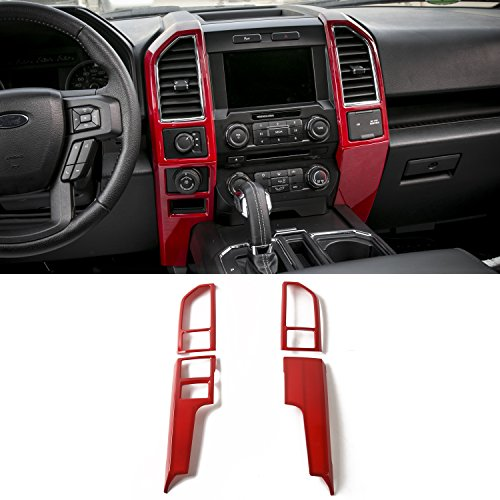 Voodonala Red Central Control Covers Frame Vent Trim Accessories for Ford F150 2015 2016 2017