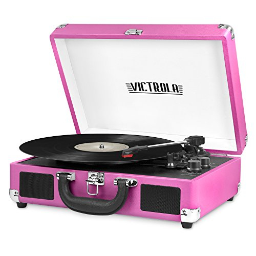 🥇 Victrola Vintage 3-Speed Bluetooth Portable Suitcase Record Player with Built-in Speakers | Upgraded Turntable Audio Sound| Includes Extra Stylus | Pink