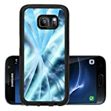 Luxlady Premium Samsung Galaxy S7 Aluminum Backplate Bumper Snap Case IMAGE 19863052 Digital abstract shapes glowing in blue tones