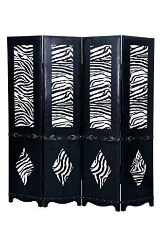 - Legacy Decor Black 4 Panel Leather Screen Room Divider with Zebra Print and Belt Buckle Accents