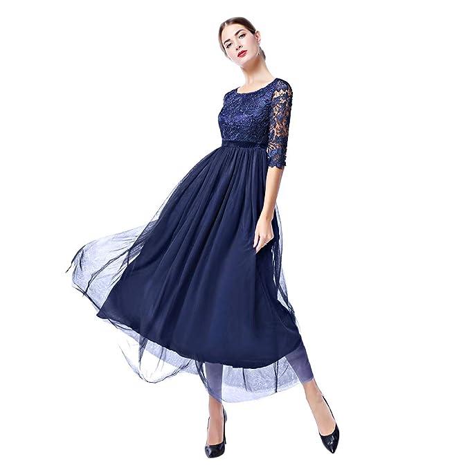 4258ea60c2d1c FYMNSI Vestido Largo de Encaje Floral Retro para Mujer