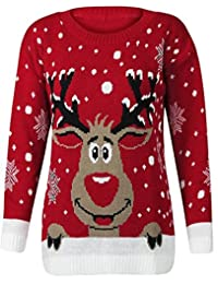 Womens Long Sleeves Star Twin Rudolph Novelty Christmas Jumper