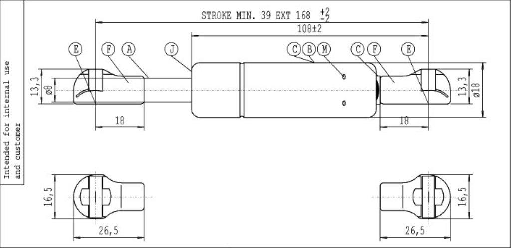 650 N Di Spinta Molla A Gas Hydro-Lift Stabilus 0682YU Grigio