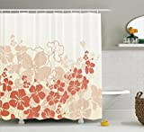 Ambesonne Hawaiian Shower Curtain, Hawaii Flowers Silhouette Tropical Plants Ornamental Floral Illustration, Fabric Bathroom Decor Set with Hooks, 70 Inches, Fuchsia Salmon White