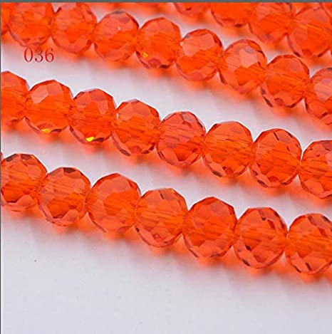 Czech Crystal Glass Faceted Rondelle Beads 6 x 8mm Orange 70 Pcs DIY Jewellery