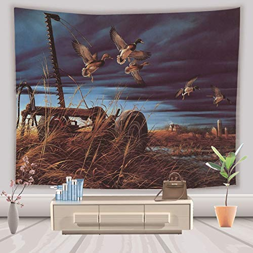 (Tapestry Wall Hanging Bohemian Hippie Indian Trippy Large Rectangular Print Fabric,Flying Wild Ducks,Modern Art Wall Decoration for Men Living Room Bedroom Office,150X200 cm )