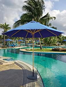 9ft Round Market Umbrella - Double Pulley Lift, Sunbrella Fabric, Commercial Grade by Galtech