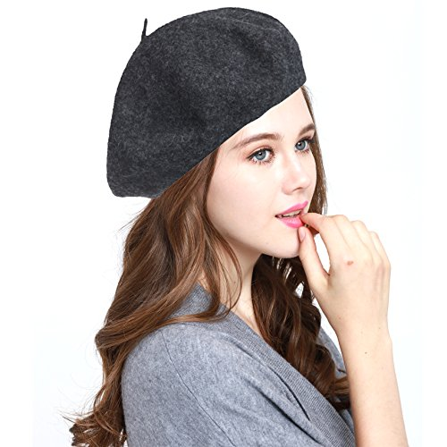 Classic WW004 Winter 100% Wool Warm French Art Basque Beret Tam Beanie Hat Cap (Charcoal)