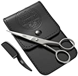 BEST DEAL Beard and Mustache Scissors w/Comb and Synthetic Leather Case Professional Sharp Surgical Grade Steel for Trimming, Grooming, Cutting Mustache, Beards & Eyebrows Hair