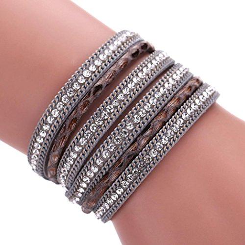 Ikevan Women Bohemian Bracelet Woven Braided Handmade Wrap Cuff Magnetic Clasp (Gray)