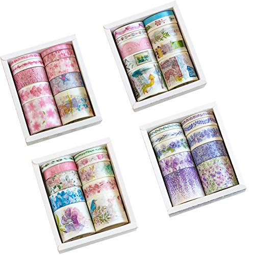 Romantic Floral Masking Washi Tape Set (4 Box, Assorted 40 Rolls) Pink Sakura Japanese Girl Pot Plant Lavender DIY Label Sticker Decor for Scrapbooking Journal Planner Album Diary Book (A) -