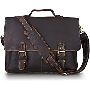 Amazon.com: Texbo Genuine Leather Men's Briefcase Messenger Tote ...