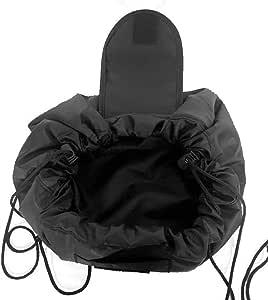 Drawstring Cosmetic Bags Large Capacity Beautician Organizer Toiletry Cosmetic Bags Portable Quick Pack Waterproof Travel Bag (Black)